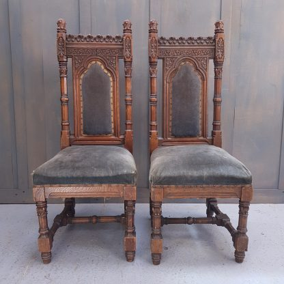 A Pair Of Important Victorian Gothic Pugin Style Oak Hall Chairs