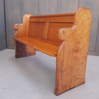 Antique Pine Church Chapel Pew Shaped Ends