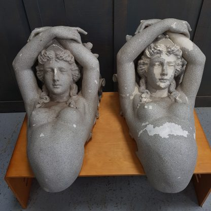 Pair of Belgian Caryatid Maiden Plaster of Paris Brackets