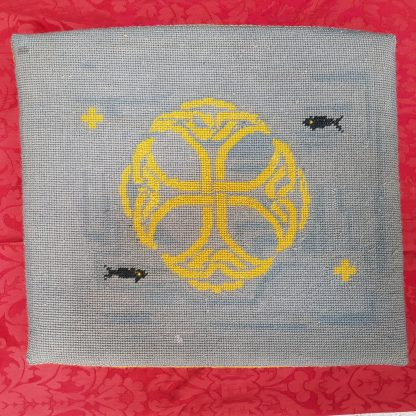 Celtic Cross with Fishes Embroidered Woolwork Seat Cushion