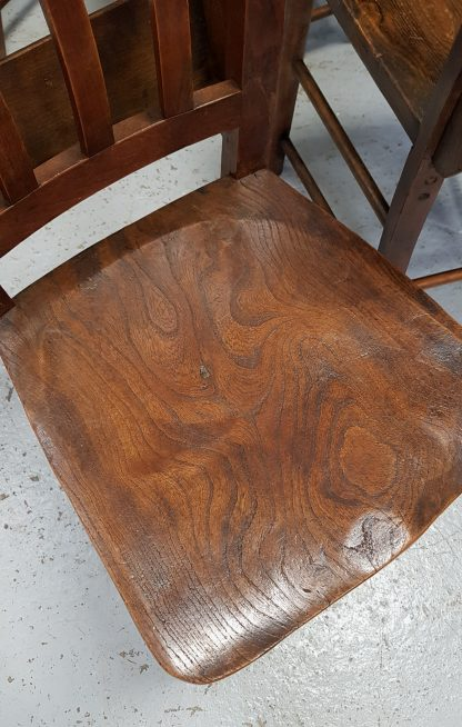 Set of 6 Elm and Beech Slatback 1930's Church Chapel Chairs