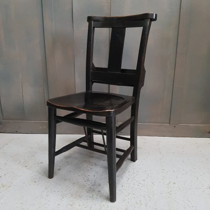 Stylish Ebony Lacquered Vintage Elm Church Chapel Chairs