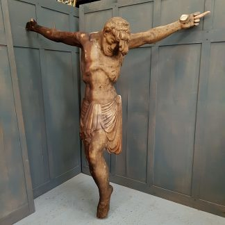 Larger Than Life Size Pre-Restored Corpus Christi Carved Wooden Statue