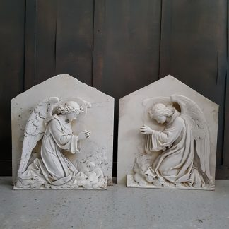 Beautiful Antique Victorian Hand Carved Marble Angels