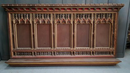 Large Extremely Ornate Victorian Oak Carved Gothic Altar Reredos Panel