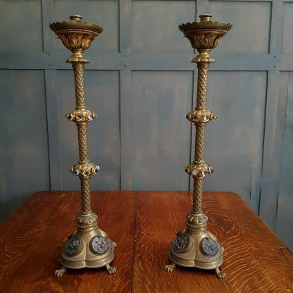 Large Ornate Brass Altar Candlesticks with Roundel Inserts and Stones