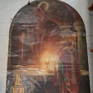 Very Large A. E. Lemmon Original Oil Painting On Canvas of St Gregory and Christ