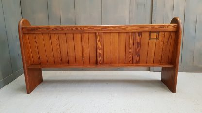 Old Victorian Antique Pitch Pine Pew With Numbered End