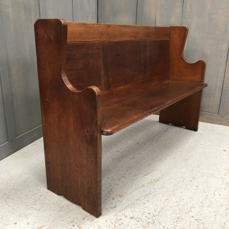 Simple Design Oak Post-War Panel Back Church Chapel Pew