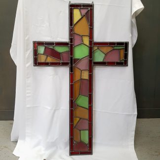 One Metre Tall Stained Glass Cross Window Hanger
