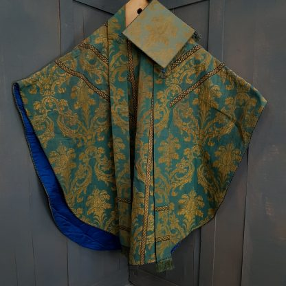 Verdigris Green and Antique Gold Damask Medieval Chasuble with Burse and Stole