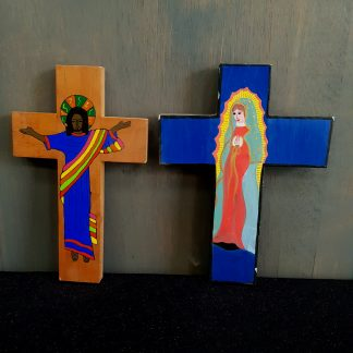 Wooden Crosses with Black Christ & South American Virgin Mary