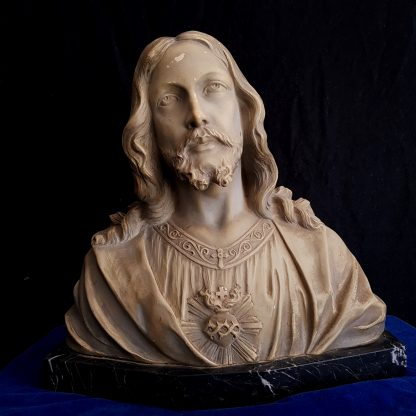 Painted Coade Stone Bust of Jesus The Sacred Heart