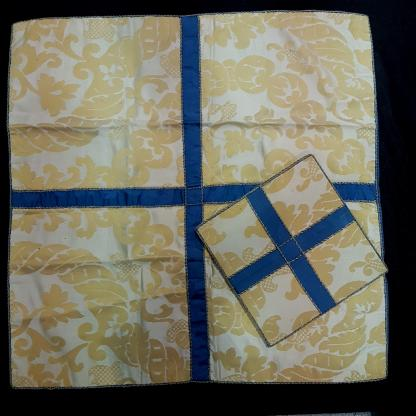 Burse & Veil Silk Damask Gold & Ivory with Blue Crosses