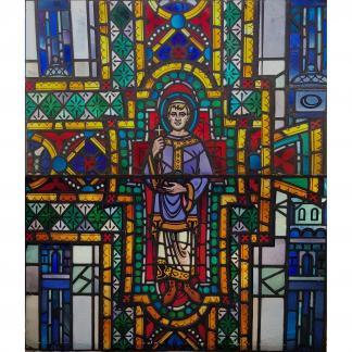 Medium Size Post-War Colourful Stained Glass Window of St Stephen