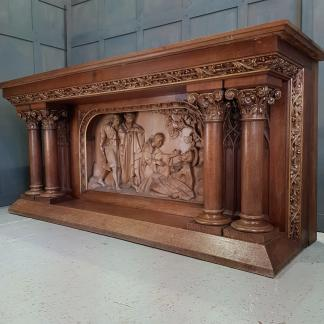 Stunning Antique Oak Carved Full Size Church Altar with Religious Scene