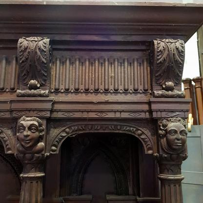 Pair of Mammoth Spectacular Oak Antique Arcaded Columned Panels