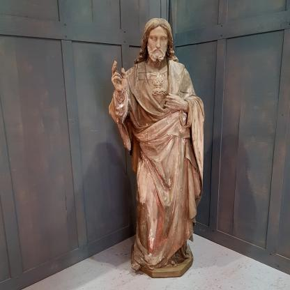 Lifesize Hand Carved Antique Sacred Heart Jesus Statue
