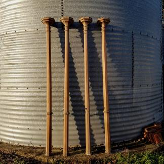 Four Tall Victorian Oak Gothic Columns/Riddle Posts/Torchere Type Supports