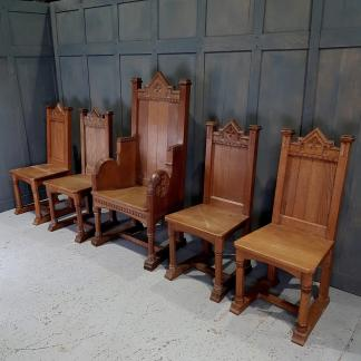 Grand Oak Gothic Set of 5 Ministers Chairs from Broadstairs including Throne