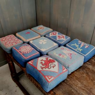 Nine Hand Embroidered Blue Hassocks Kneeling Cushions
