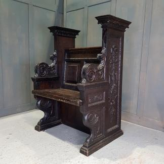 Spectacular Baroque Georgian Style Carved Oak Throne Chair