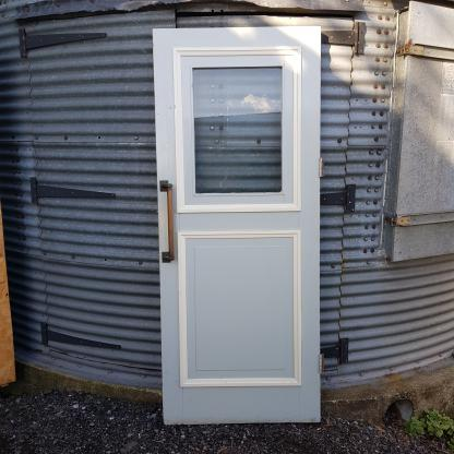 Extremely Heavy Vintage Glazed Pine Door with Fantastic Door Handles