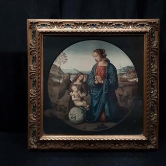Antique Top End Framed Renaissance Print of Madonna & Child