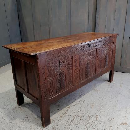 18th Century Antique Old English Oak Style Coffer Trunk Chest