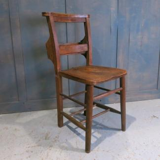 Medium Dark Elm & Beech Chapel Chairs with Curved Book Rack