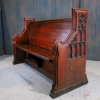 Bingley Highly Carved Victorian Gothic Baltic Pine Church Chapel Pew