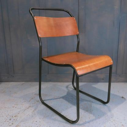 Vintage 1960's Du-Al Tubular Steel & Ply Stacking Chairs