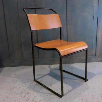 Whitstable Vintage 1960's Straight Leg Tubular Steel & Ply Stacking Chairs