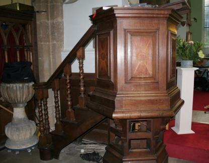 King George II 1737 Oak Pulpit from St Mary's Wollaston
