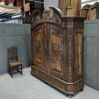 Massive North European Antique Shelved Walnut Armoire