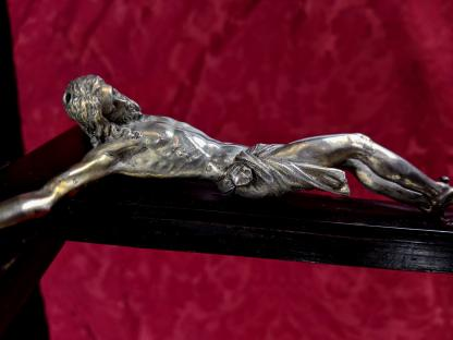 19th Century Very Fine Silvered Bronze & Ebonised Crucifix