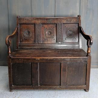 Early 1800's Antique Oak Settle Bench with Storage