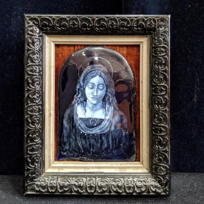 Antique Lalique Painted Glass Rendition of Virgin Mary