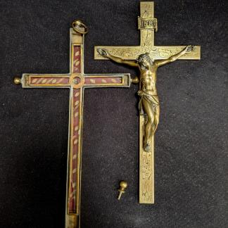 Rare and Special Late 19th Century Brass Reliquary Crucifix Cross