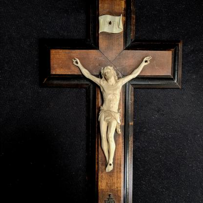 Property of Fr.Calloway - Antique Ivory Crucifix from Notre Dame