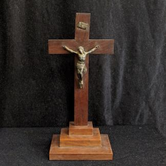 Smaller Size Heavy Mahogany & Metal Altar Crucifix