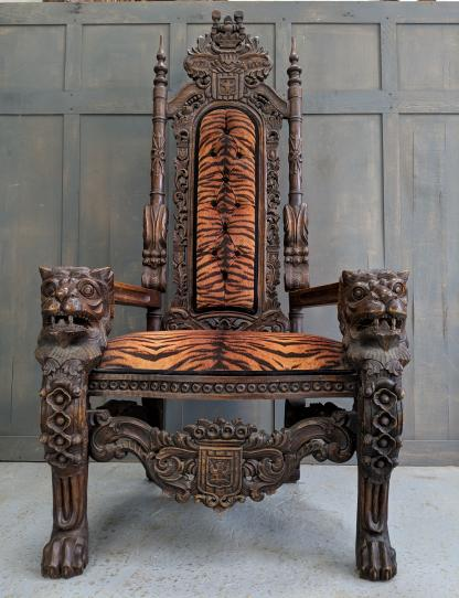 Outrageous Outsize Javanese Tiger Throne Chair