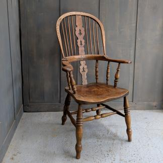 Extra Large Handmade Elm & Beech Vintage Windsor Chair
