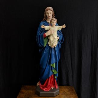 Restored Antique English Statue of Our Lady & Child