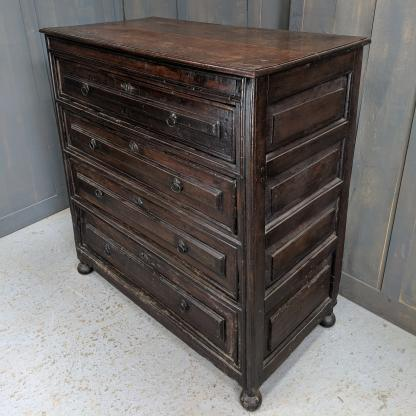 Antique French Country Oak Four Drawer Chest of Drawers