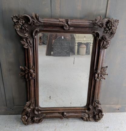 Large Highly Carved Oak Antique Mirror