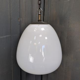 Large White 1930's Opaline Glass Shades with Brass Galleys