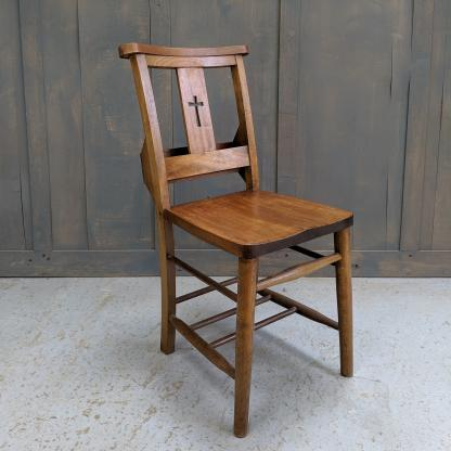 Handsome Mid Brown Beech Cross Back Church Chapel Chairs