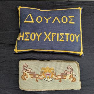 Two Religious Use Vintage Church Cushions Kneelers, One Greek