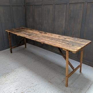 Long Old Pine Plank Trestle Table